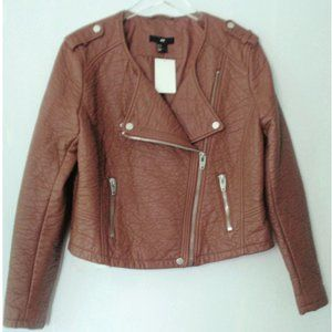 H&M BROWN FAUX LEATHER MOTO JACKET 14